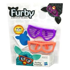 Orange furby frames   Purple furby frames   Put one pair on your furby figure; sold separately and keep the other for when you want to change its look   Comes with fun stickers   Includes 2 sets of frames and stickers.     Give your Furby (sold separately) the awesome style it deserves. You get 2 awesome pairs of Furby Frames, one orange and one purple. Decide which one is the perfect accessory for shaping your Furby figure's personality and put the other on when you want to change its look.