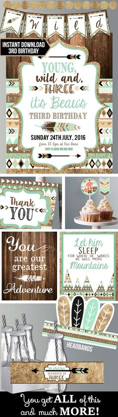Boy Young Wild and Three Teal and Gold by CassiaLeighDesign