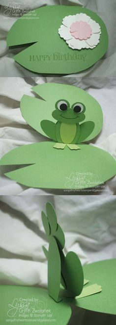 Lilypad & Pop-up Frog Card - Song of My Heart Stampers Punch Art Cards, Pop Up Cards, Cute Cards, Art For Kids, Crafts For Kids, Children Crafts, Frog Crafts, Shaped Cards, Kirigami