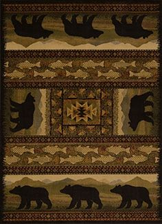 United Weavers of America Affinity Collection Black Bears Rug, 7-Feet 10-Inch by 10-Feet 6-Inch, Brown
