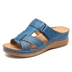 b8b37f7a2 Lostisy LOSTISY Open Toe Hook Loop Casual Wedges Beach Gladiator Sandals is  comfortable to wear. Shop on NewChic to see other cheap women sandals on  sale.