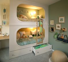 cute bunkbed! This is sorta what Brandon wants to build for our son. The bed will on top and he can climb up and swing down. Then the bottom will be like a cave :) can't wait to build our dream house! Gonna add so many gadgets and secrete passages!