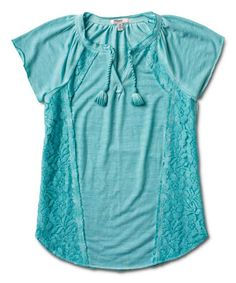 Love this Aqua Floral Peasant Top - Girls on #zulily! #zulilyfinds