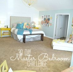 Master bedroom 30 day makeover at tatertots and jello - thrifty ways to brighten up a bedroom--some cute ideas here