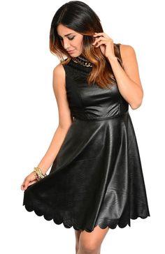 Vegan Leather Dress W/ Scalloped Hem - BodiLove | 30% Off First Order  - 1