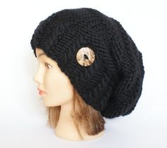 Slouchy beanie hat black wool slouch hats chunky by Johannahats, $41.00