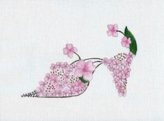 Handpainted needlepoint canvas Pink Hydrangea slipper by colors1