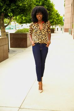 Leopard Print Shirt, Dark Denim Skinny Jeans and Gold Stilettos.