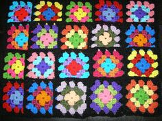 20 Crochet Granny Square Blocks for Afghan - Multicolored With Black Border Lot BLK25 by Isabellarts on Etsy