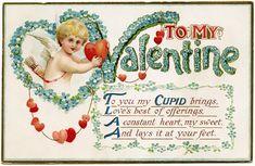 antique valentine postcard, cupid holding heart, free vintage blue valentine image, old fashioned valentine, valentine hearts cupid graphic