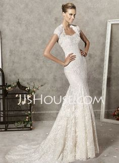 Mermaid Sweetheart Chapel Train Satin Lace Wedding Dresses With Lace Beadwork
