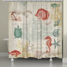 A vintage coastal-themed curtain featuring green, yellow and coral sea creatures and shells. Laural Home's Coral Seaside Postcard Shower Curtain is a lovely addition to any coastal bathroom.