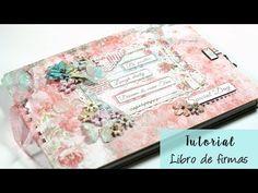 Libro de firmas de comunión o boda muy romántico, también se puede utilizar como álbum de fotos. Está realizado con la colección Dream de Stamperia. Puedes e...