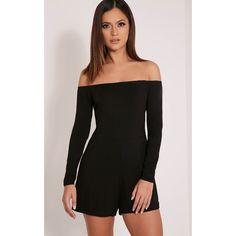b6861c6eccd Basic Black Bardot Jersey Playsuit Image 1 Playsuit Romper, Bardot,  Playsuits, Jumpsuits,