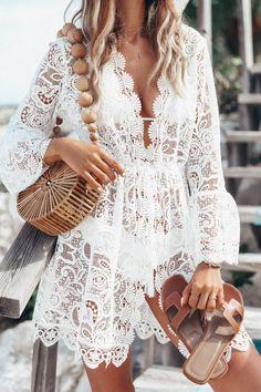 Ultimate Beach Getaway Packing List - white lace kaftan, Cult Gaia bamboo bag + Hermes sandals