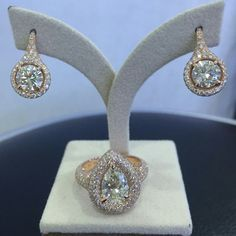Rose gold setting Round Diamond earrings &pear shape ring
