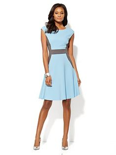 Colorblock Fit & Flare Dress - New York and Company - Such a pretty dress - love the color combo!