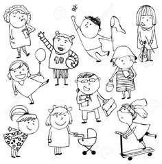 Hand-drawn Sketch Ten Children Royalty Free Cliparts, Vectors, And Stock Illustration. Image 25435091.
