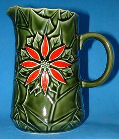 Christmas Pitcher Jug Holiday Poinsettia Holly Majolica Enesco 1950s Retro item ID/SKU: 0540 type: Christmas pitcher, jug, majolica