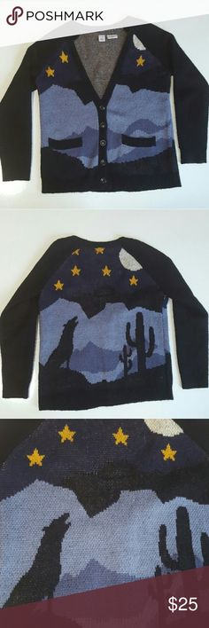 LA Hearts Wolf Sweater Great used condition! Small amount of pulling in the fabric  Gorgeous design on the front and back features a wolf and starry night. An edgy piece that looks awesome with a pair of jeans   Perfect for autumn Free People Sweaters Cardigans