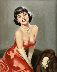 Walt Otto - So sophisticatedly lovely - and just a wee bit sultry. #vintage #pinup #girl #art #1950s