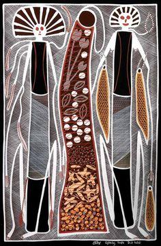 Lightning Couple Hunting by Edward Blitner. Aboriginal Art Directory.