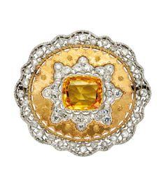 BUCCELLATI Yellow Sapphire, Diamond, and Gold Brooch