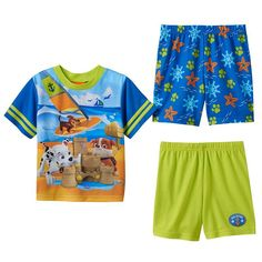 Toddler Boy Paw Patrol Chase, Marshall & Rubble Beach 3-pc. Pajama Set, Size: 4T, Multicolor