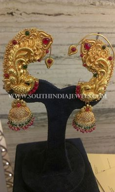 Gold Jhumka With Ear Cuff Designs, Indian Gold Jhumka With Ear Cuffs, Indian Gold Earrings With Ear Cuffs.