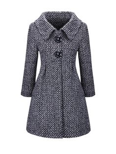 Pocket Turn Down Collar Decorative Button Woolen Coat Muslim Fashion, Hijab Fashion, Fashion Dresses, Winter Coats Women, Coats For Women, Clothes For Women, Fashion Mode, Schneider, Mode Outfits