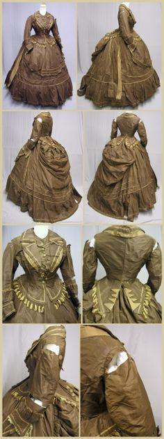 1870's Brown & Golden Promenade Ensemble Dress.