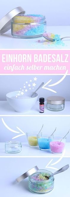 Making unicorn bath salts yourself - DIY bath salts made by yourself .- Einhorn Badesalz selber machen – DIY Badesalz selber herstellen und schöne Gesc… Make unicorn bath salts yourself – make DIY bath salts yourself and make beautiful gifts yourself Diy Gifts For Christmas, Tarjetas Diy, Decoration Photo, Make Your Own, Make It Yourself, Ideias Diy, Presents For Her, Holiday Break, Unicorn Gifts