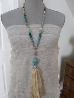 SALE Chrysocolla necklace Off-white Sari Silk by PassionKnots