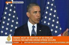 """US President Barack Obama defends the use of drones as a """"just war"""" of self-defence against."""