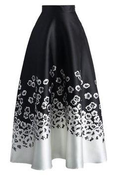 Jupes Longues Hiver Taille Haute Noir Blanc Fleurie Imprime