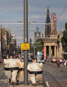 Sumo Run through Edinburgh's Meadows by Link Community Development | STV Edinburgh | Edinburgh