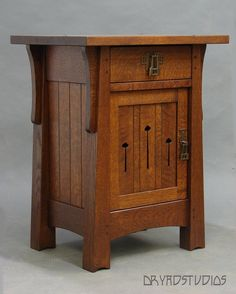 Another one of our Mackintosh Nightstands, done in a most classic color and finish.  http://www.dryadstudios.com/mission___arts___crafts_furnit.htm