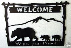 Welcome Sign Bear Metal Art Rustic Woodland Lodge Decor | eBay