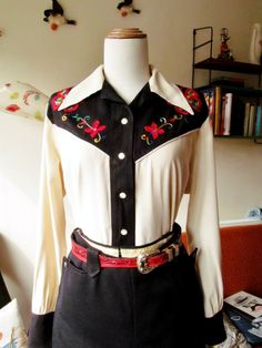 embroidered black yoke, vintage western shirt