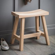 Clockhouse Stool With its distinctive curved seat the Clockhouse Stool provides a vital pew for use throughout the home. Sold in a range of colourways we've mixed Raw Oak designs with painted options Wooden Stool Designs, Chair Design, Furniture Design, Plywood Furniture, Modern Furniture, Design Design, Small Stool, Small Wooden Stool, Wood Stool