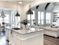 White kitchen is never a wrong idea. The elegance of white kitchens can always provide . Elegant White Kitchen Design Ideas for Modern Home Living Room Kitchen, New Kitchen, Kitchen Decor, Kitchen Ideas, Living Rooms, Kitchen Island, Awesome Kitchen, Kitchen White, Kitchen Interior