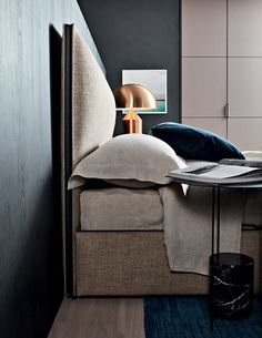 RIBBON - Double bed / contemporary / upholstered / with upholstered headboard by Molteni&C High Design, Bed Design, Cool Bedroom Furniture, Furniture Design, Furniture Ideas, Mirrored Furniture, Furniture Online, Luxury Furniture, Living Divani