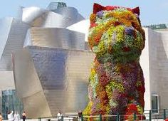 The Guggenheim Museum - Bilbao, País Vasco, Spain, by Frank Gehry Jeff Koons, Frank Gehry, Gugenheim Museum, Monuments, Guggenheim Museum Bilbao, Magic Places, Dog Sculpture, Basque Country, Andalusia