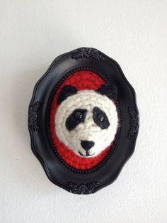 Mounted crochet Phil the Panda by HookAway on Etsy, $25.00 #fauxtaxidermy Faux taxidermy