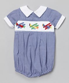 Loving this Blue Gingham Airplane Smocked Bubble Bodysuit - Infant & Toddler on #zulily! #zulilyfinds