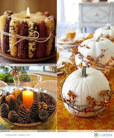 "With a candle and bowl set up like the lower left you could decorate for every season, just switch out the pine cones with ""frosted pine cones"" or ornaments and you're ready for Christmas."