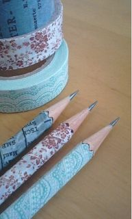 Washi wrapped pencils....Nyla's Crafty Teaching: Washi Tape Classroom Decorative Ideas for Back-to-School