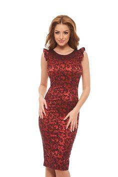 StarShinerS Like A Lady Red Dress, form-fitting, sleeveless, shiny fabric, slightly elastic fabric Shiny Fabric, Dress Skirt, High Neck Dress, Formal Dresses, Lady, Skirts, Collection, Style, Fashion