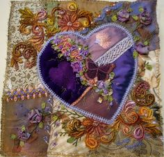 Julie Yonge Crazy Quilt Block. Would make a pretty pillow or tote.