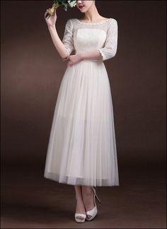 60er Jahre Brautkleid mit 3/4 Ärmeln von LAFANTA auf DaWanda.com